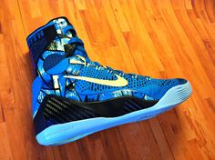"The Kobe IX Elite drops March 8th. The ""Perspective"" features a turquoise upper infused with volt and a graphic print along the sides. #Basketball #Shoes"