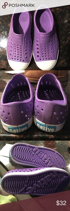 Purple Galaxy toddler girls Natives Worn just one time like new condition. Purple simmer color. Native Shoes Sneakers