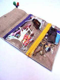 Sobre De Fiesta. Hippie Chic. Porta Documentos. Sewing Tutorials, Sewing Projects, Sewing Patterns, Pencil Case Tutorial, Hippy Chic, Purse Organization, Diy Bags, New Bag, Birkin