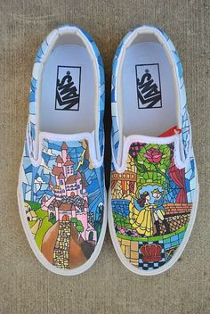 "This was the first pair of non-TOMS shoes I decorated. they were Vans! Painted on the Vans are ""Beauty & the Beast"" stain glass images. Disney Vans, Disney Shoes, Disney Outfits, Custom Vans, Custom Shoes, Tenis Vans, Vans Sneakers, Converse, Loafers"