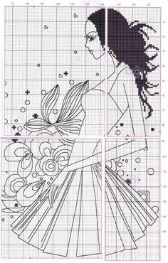 0 point de croix femme en robe courte - cross stitch girl in short dress