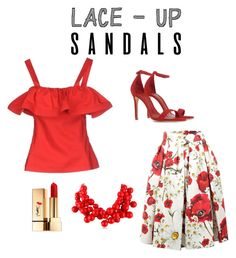 """red sandal funny"" by danielsan on Polyvore featuring Schutz, Dolce&Gabbana, Lorella Signorino, Kenneth Jay Lane, Yves Saint Laurent, contestentry, laceupsandals and PVStyleInsiderContest"