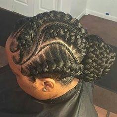 @voiceofhair: This braided bun is so different and pretty @hairprincessss ❤️ #detroitstylist #cornrows #bun #voiceofhair