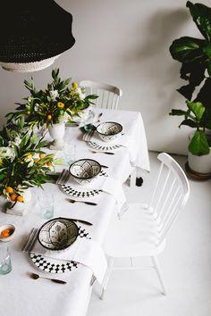 A Black & White Moroccan Citrus Garden Tabletop