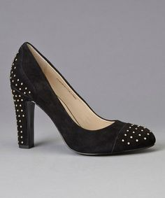 Take a look at this Black Suede Studded Qadira Pump by Anne Klein on #zulily today!