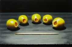 "By auction Oilves #9 Original oil still life painting 4x6"" by JP Walter, painting by artist JP Walter"