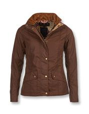 This women's wax jacket by Barbour® pairs a pretty shape with practical equestrian details.