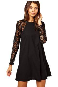 Sheinside Women's Fashion Black Contrast Lace Long Sleeve Chiffon Dress (XXL, Black) Sheinside,http://www.amazon.com/dp/B00IJSN17E/ref=cm_sw_r_pi_dp_JUigtb11DHK5NXTG