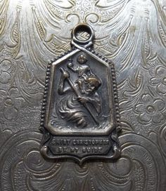 Gorgeous Saint Christopher Religious Medal, Protector Of Travelers - Be My Guide, Catholic Holy Medallion, Circa 1940's Vintage
