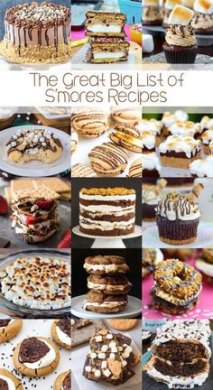 The Great Big List of S'mores Recipes – tickle your taste buds and satisfy your sweet tooth with this recipe roundup of 120 tasty s'mores recipes from around the web; these recipes are the bees knees! Best Dessert Recipes, Easy Desserts, Sweet Recipes, Delicious Desserts, Southern Recipes, Healthy Desserts, Healthy Foods, Yummy Treats, Sweet Treats