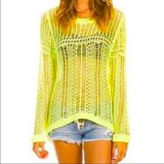 Billabong sun sweater This is a high low sweater with an open knit from Billabong.. It's a bright yellow and looks great on!! Perfect for a bikini cover up or with skinny jeans.. Get noticed!! Great condition Billabong Sweaters Crew & Scoop Necks