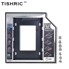 "TISHRIC Universal Aluminum Plastic 2nd HDD SSD caddy 12.7mm SATA 3.0 For 2.5"" Hard Disk Driver Case Enclosure DVD CD-ROM Optibay  Price: 4.60 USD"