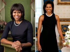 The First Lady's 2009 and 2013 Official Portraits. Love them both.