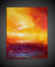 Original Canvas Modern Abstract Sunset Painting