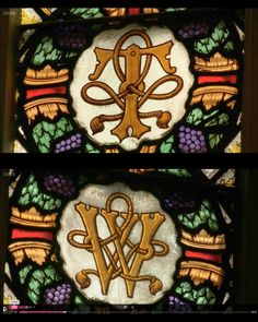 CARDINAL THOMAS WOLSEY's (1475-1530) INITIALS IN STAINED GLASS AT HAMPTON COURT