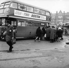 1969 - Commuters boarding a bus in Golders Green
