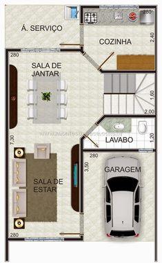 Projeto de Casas: Plantas de casas 2 pavimentos Duplex House Plans, Apartment Floor Plans, Home Design Plans, Plan Design, House In The Woods, My House, Model House Plan, Bamboo House, Gamer Room