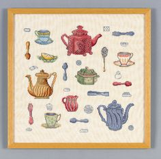 Teapot sampler free cross stitch pattern