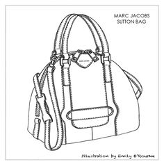 MARC JACOBS - SUTTON BAG - Designer Handbag Illustration / Sketch / Drawing / CAD / Borsa Disegno