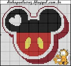 Cross Stitch Alphabet, Cross Stitch Baby, Cross Stitch Charts, Mickey Y Minnie, Mickey Mouse And Friends, Minnie Mouse, Disney Stitch, Disney Cross Stitch Patterns, Cross Stitch Designs