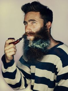 Beard pipe smoke striped sweater men man gentlemen