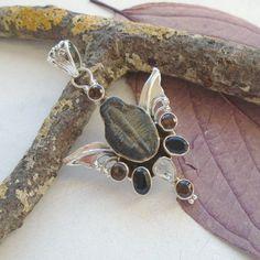 Fossil-amp-Rauchquarz-Onyx-Herkimer-Diamant-Anhaenger-925-Sterling-Silber