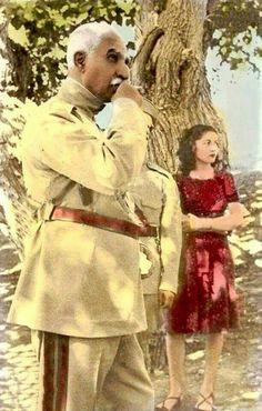 الاميرة فوزية مع رضا بهلوي شاه ايران الاول