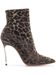 Gold-tone leather leopard print boots from Casadei featuring a pointed toe, a high ankle, a mesh upper, a high stiletto heel and a leather sole. Leopard Print Outfits, Leopard Print Boots, Bootie Boots, Shoe Boots, Women's Shoes, Fab Shoes, Casual Shoes, Heeled Boots, Stiletto Heels