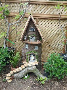 Garden crafts, fairy house crafts, fairy garden houses, gnome g Fairy House Crafts, Fairy Garden Houses, Gnome Garden, Garden Crafts, Diy Garden Decor, Garden Art, Garden Design, Log Decor, Cabin Crafts