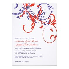 Red and blue scroll flourish wedding invitations feature a bright white background. Pretty and sophisticated. #red #white #blue #invitation #invitations
