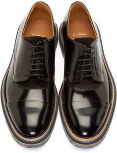 Paul Smith Black Leather Multicolor Sole Derbys