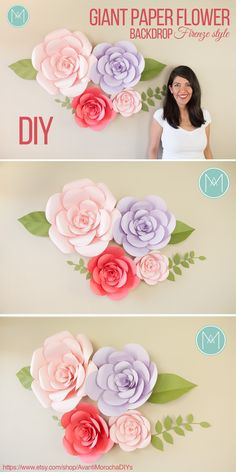 DIY Giant Paper Flower Backdrop - Firenze style - Wedding backdrop, event decor. Buy the patterns with one click on my Etsy shop https://www.etsy.com/shop/AvantiMorochaDIYs Please don't forget to share your creations on my Facebook page https://www.facebook.com/LatinMorocha or tag me on Instagram @avantimorocha_1 I'd love to see them :)