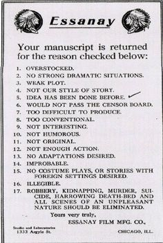 If only The Essanay Film Manufacturing Company was in existence today, perhaps we'd have at least one studio focused on producing original works. That's what we might think after seeing a manuscript rejection slip from Essanay currently making Found Wanting, Chaplin Film, Chicago, Movie Scripts, Letter Form, Silent Film, Screenwriting, Vintage Movies, Retro Vintage