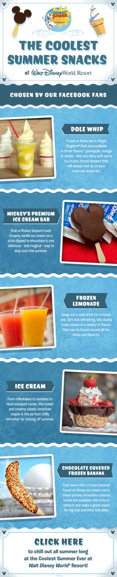 Have the Coolest Summer Ever at Walt Disney World with the Coolest Snacks as chosen by our Facebook Fans! From Dole Whips to Mickey's Premium Ice Cream Bars, your in for a deliciously cool family vacation!