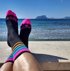 Resting after training. Crazybiker Fluo Stripes cycling socks.