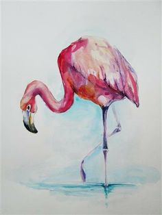 50 OFF FLAMINGO ORiGINAL watercolor painting 8x10 by EcoProduct