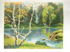 Vintage Paint by Number PBN Landscape Quiet Waters - Large 20 x 16