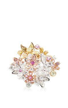 Spring Blossom Color Diamond Ring by Anna Hu Haute Joaillerie for Preorder on Moda Operandi