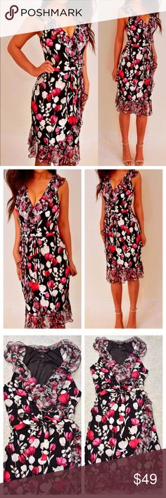 White House Black Market Pink Black Floral Dress 6 This is a very nice floral dress by White House Black Market.  The colors and floral pattern is amazing!  It has a tie belt, chiffon ruffles, and stretchy material.  * Excellent used condition, worn once, no defects * Black, dark pink, beige * Shell: 96% polyester, 4% spandex.  Trim/lining: 100% polyester * Size: 6 (fits like Small?)  🍓Bust: 17 inches across 🍓Waist: 14 inches across 🍓Length: 39 inches from top to bottom  Please let me…