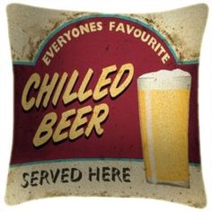 Nice Chilled Beer Art Print Retro Cushion Martin Wiscombe From Sarah J Home Decor.  $59.95