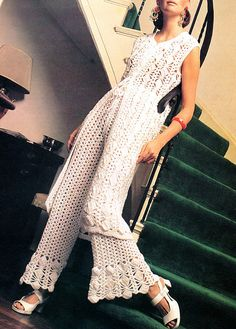 1970s Crocheted Lacy Bell Bottom Pants & Boho Chic Tunic: vintage pattern