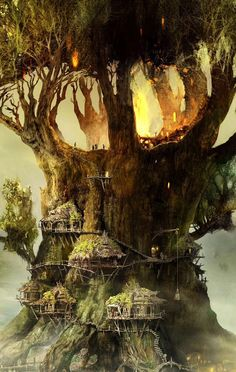 Image discovered by zoya. Find images and videos about life, wallpaper and city on We Heart It - the app to get lost in what you love. Fantasy City, Fantasy Places, Fantasy World, Forest Elf, Forest City, Lightroom, Fantasy Art Landscapes, Fantasy Landscape, Fantasy Concept Art