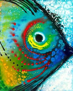colorful tropical fish abstract painting by Sharon Cummings