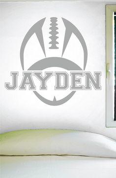 Custom Football Name Wall Decal, 0119, Personalized Football Name Wall Decal,Boys Room Vinyl Lettering, Custom Name