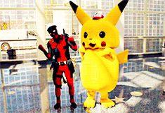 Deadpool tries his hand at some caramelldansen with pikachu!