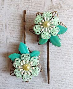 Hand painted hair accessories  Set of 2 metal by jayedesigns
