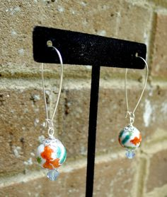 Koi Fish Earrings Swarovski Crystal by GlitterFoundJewelry on Etsy