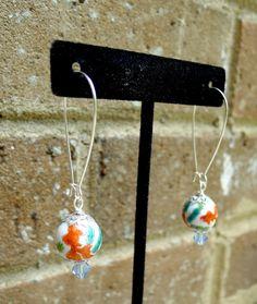 Koi Fish Earrings Swarovski Crystal by GlitterFoundJewelry on Etsy