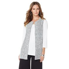 Slinky® Brand Boucle Open-Front Duster Vest