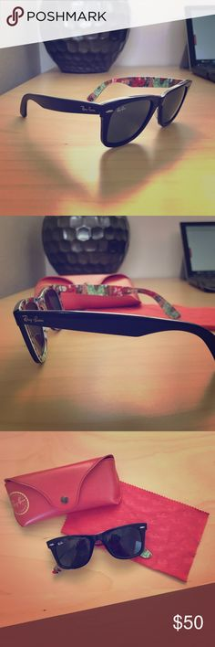 Ray-Ban Wayfarer Special Series Lightly loved classic Ray-Ban's with a special series floral print on lining! Comes with original case and lens cloth. Ray-Ban Accessories Sunglasses
